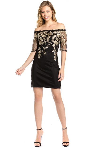 off shoulder gold embroidery dress - orangeshine.com