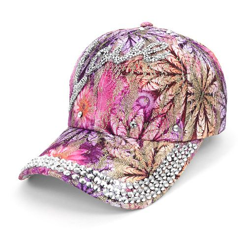 Bling Studs Flower Baseball Cap - orangeshine.com