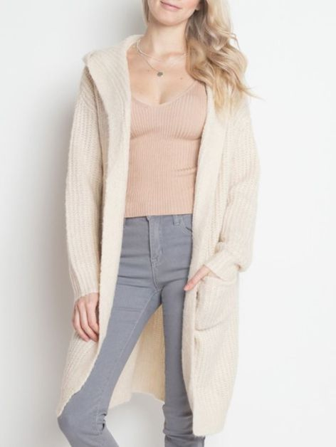 LONG HOODIE CARDIGAN WITH POCKETS - orangeshine.com