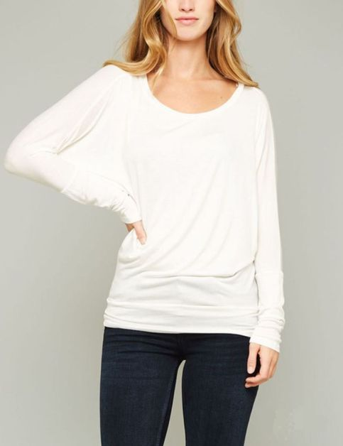 SIMPLE DOLMAN LONG SLEEVE TOP SHIRT - orangeshine.com