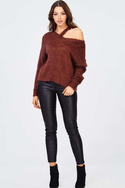 V NECK LONG SLEEVE SOFT SWEATER - orangeshine.com