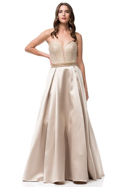 Mikado Lace Up Back Evening Gown - orangeshine.com