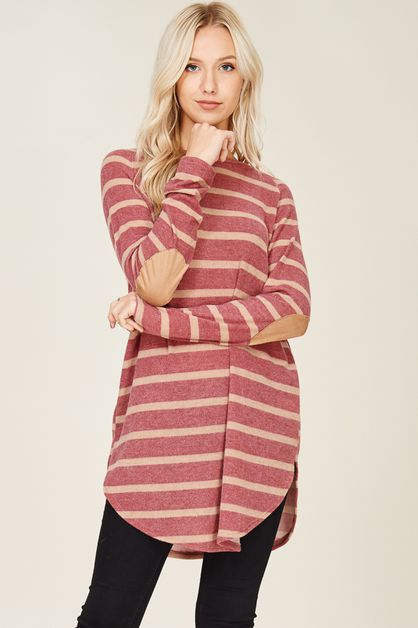CASHMERE STRIPE  KNIT TOP  - orangeshine.com