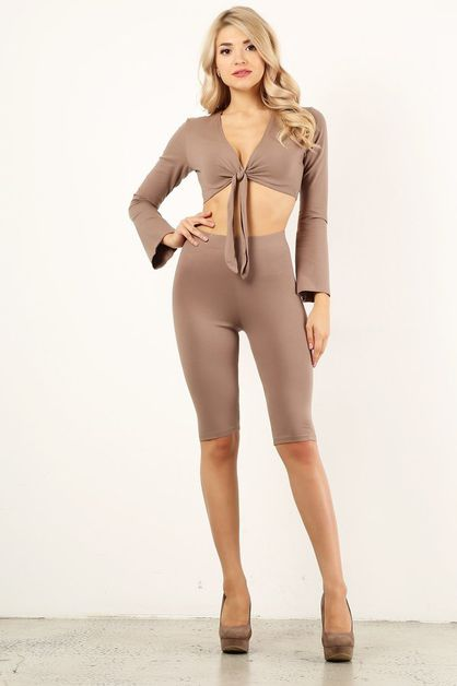 Mocha Biker Short Set - orangeshine.com