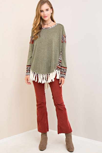 Solid tribal sweater top - orangeshine.com