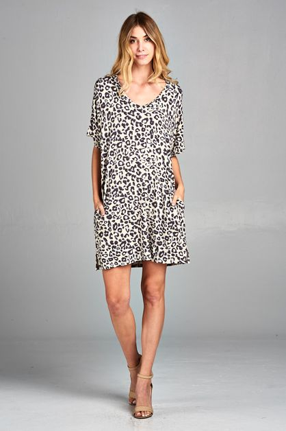 CHEETAH COMFY T-SHIRT DRESS - orangeshine.com
