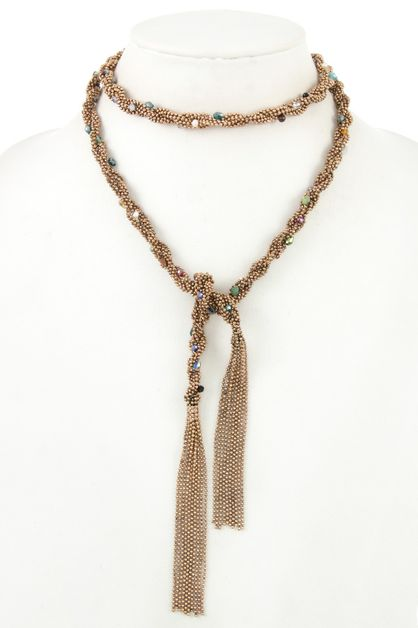 BEADED BRAID CHAIN GEM ACCENT SINGLE - orangeshine.com