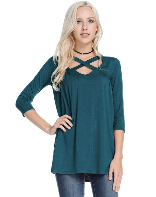 3/4 Sleeve Cross Neckline Solid Top - orangeshine.com