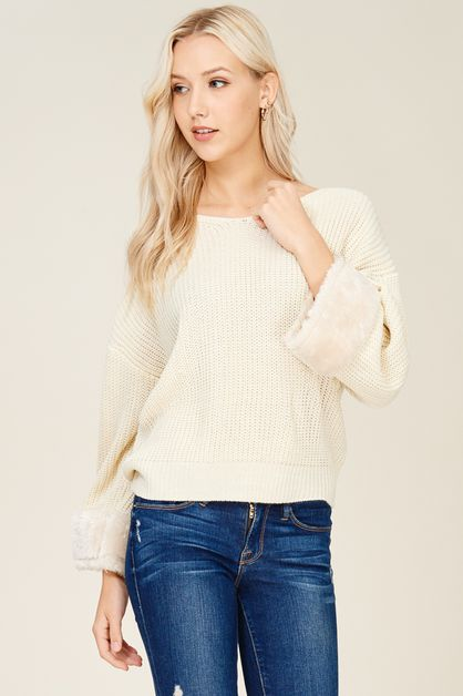 Faux Fur Embellished Cuff Sweater - orangeshine.com