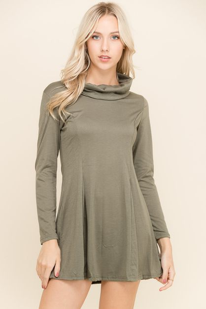 Knit Button Cowl Neck Dress - orangeshine.com
