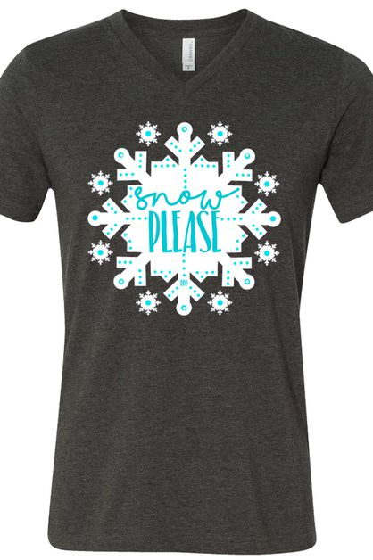 Snow Please Snowflake V Neck Tee - orangeshine.com