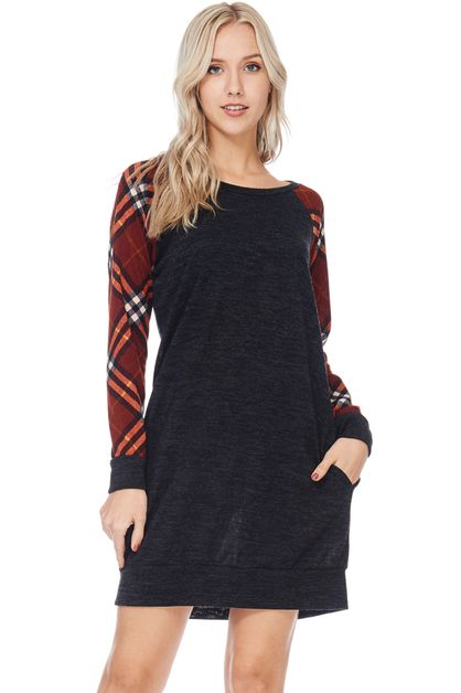RAGLAN MIDI DRESS WITH PLAID SLEEVES - orangeshine.com