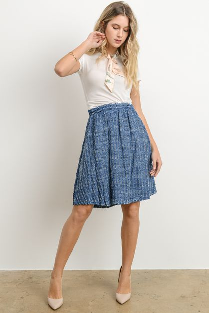 Denim Skirt with Elastic Waist - orangeshine.com