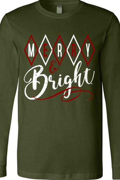 Merry and Bright BC LS Olive Tee - orangeshine.com