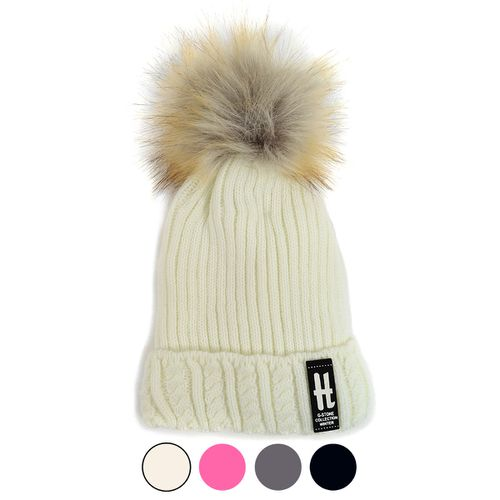Kids Ribbed Cable Knit Pom Ski Hats - orangeshine.com