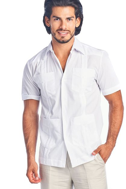 Mens Guayabera Shirt Poly Cotton - orangeshine.com