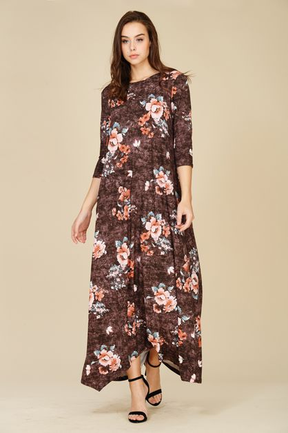Floral Print Maxi Dress with Pocket - orangeshine.com