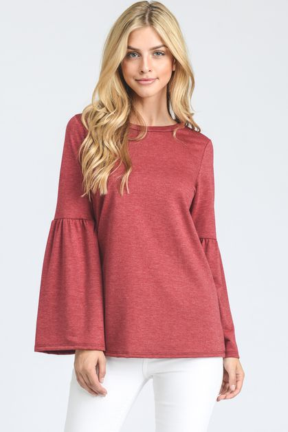 Extra-long ruffled bell sleeves top - orangeshine.com