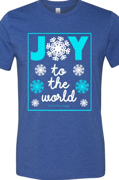 Joy To The World Crew Tee in Blue - orangeshine.com