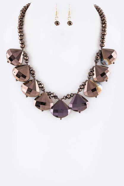 Facet Stone Drop Necklace Set - orangeshine.com