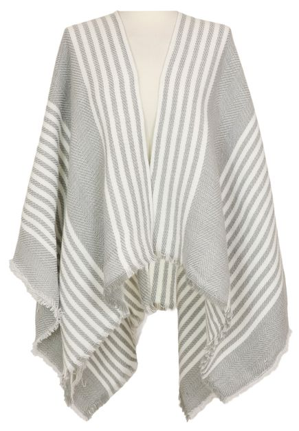 Grey Striped Ruana Wrap Shawl - orangeshine.com