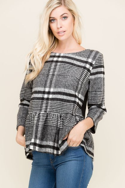FLANNEL PEPLUM TOP  - orangeshine.com