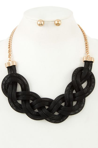 BRAIDED MESH CHAIN BIB NECKLACE SET - orangeshine.com