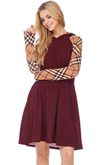 PLAID SLEEVE HOODED DRESS  - orangeshine.com