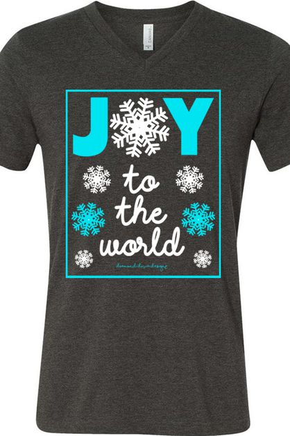 Joy To The World Snowflakes BC V Tee - orangeshine.com
