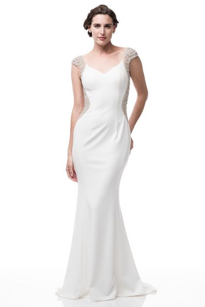 V-Neck Cap Sleeve Evening Dress - orangeshine.com