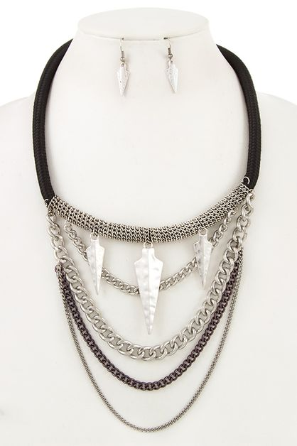 HAMMERED ARROW MULTI CHAIN DRAPED NE - orangeshine.com