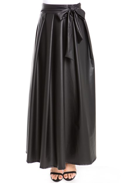 Faux Leather Bow Accent Maxi Skirt - orangeshine.com