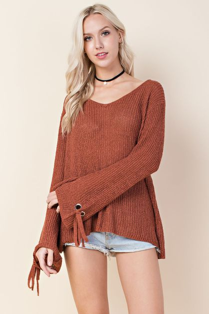 Grommet Tie Sleeve Sweater - orangeshine.com