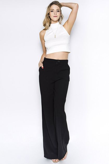 WIDE LEG TROUSER WITH FRONT BUTTON A - orangeshine.com