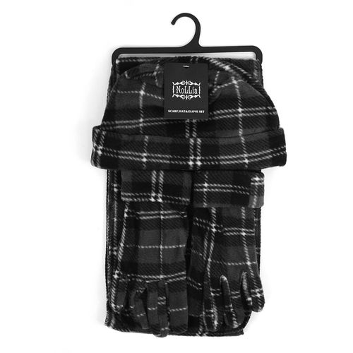 6pc Womens Charcoal Plaid Winter Set - orangeshine.com