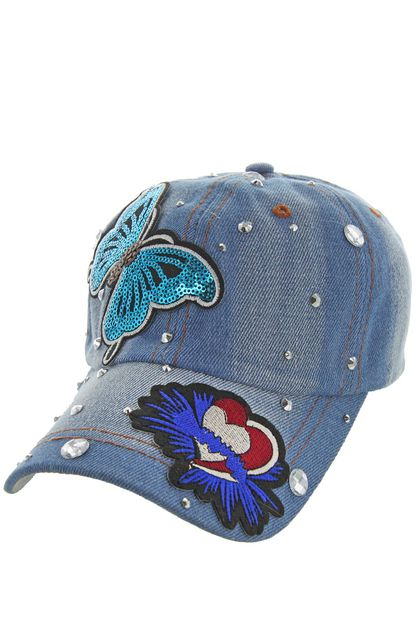 FLYING BUTTERFLY DENIM CAP WITH STUD - orangeshine.com