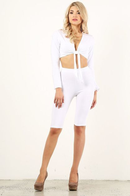 White Biker Short Set - orangeshine.com