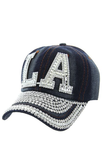 LA WITH SEQUENCE ON VISOR DENIM CAP - orangeshine.com