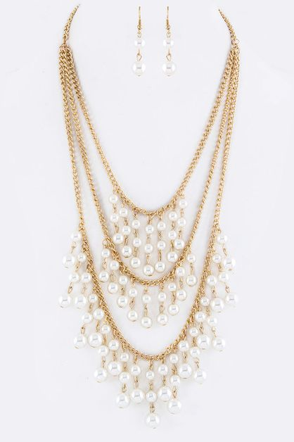 Fringe Pearls Layer Necklace Set - orangeshine.com