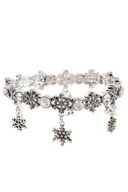 SNOWFLAKE DANGLE CHARM BRACELET - orangeshine.com