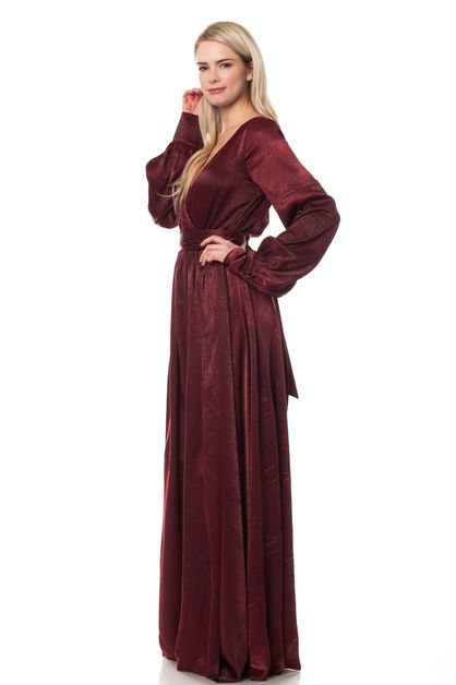 Solid satin maxi dress long sleeve - orangeshine.com