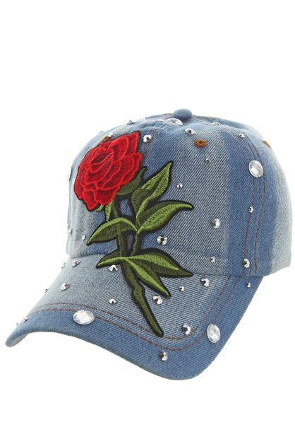 SINGLE ROSE DENIM CAP WITH STUDS - orangeshine.com