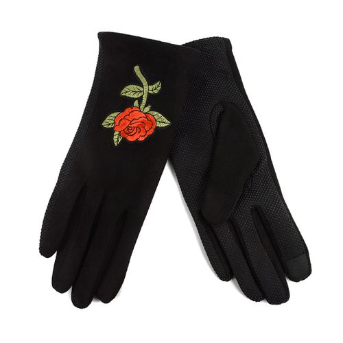 Womens Rose Touch Screen Gloves - orangeshine.com