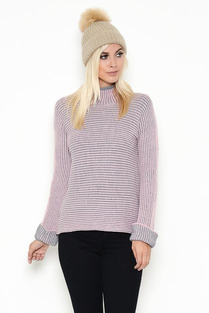 STRIPED TUTLENECK SWEATER - orangeshine.com