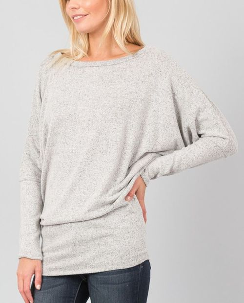 DOLMAN SLEEVE THERMAL SWEATER TOP - orangeshine.com