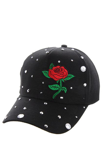 MINI RED ROSE BLACK CAP WITH STUDS - orangeshine.com