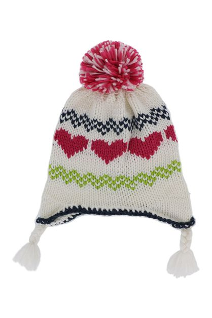 Colorful Cream Knit Pom Pom Beanie  - orangeshine.com