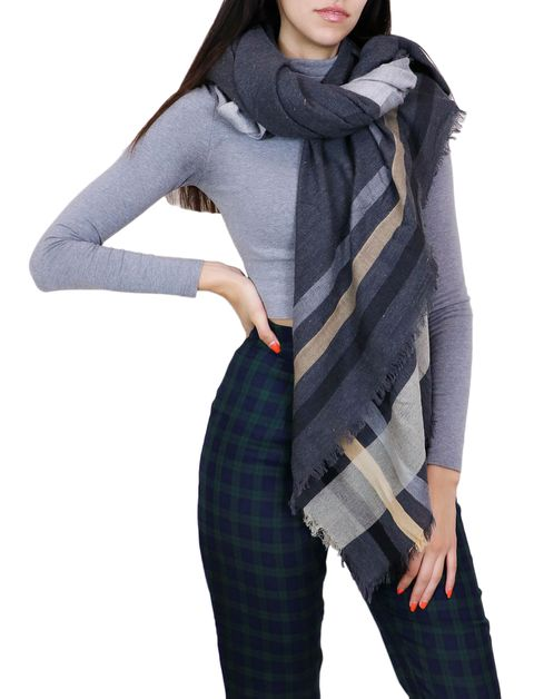 Grey Oblong Fashion Scarf - orangeshine.com