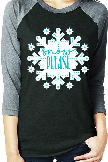 Snow Please Snowflake Raglan Tee - orangeshine.com