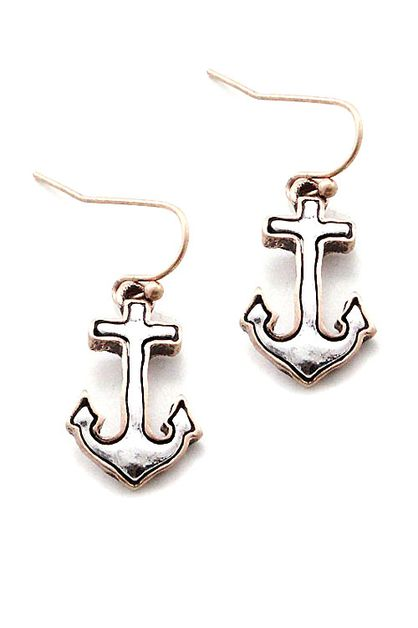 Mix Metal Anchor Hook Earrings  - orangeshine.com